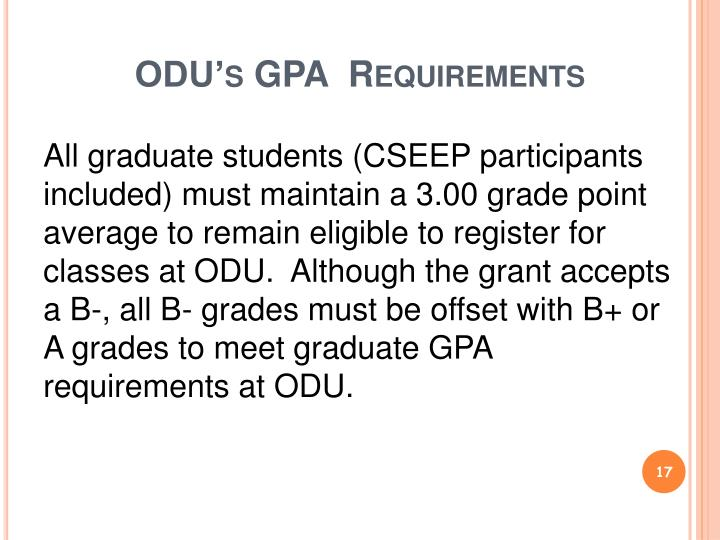 ODU's GPA  Requirements