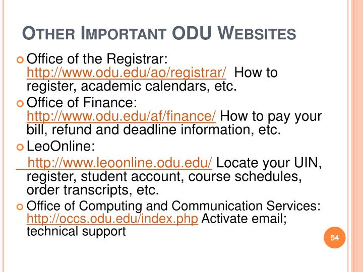 Other Important ODU Websites