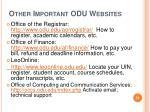 other important odu websites