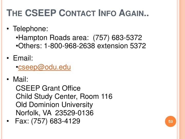 The CSEEP Contact Info Again..