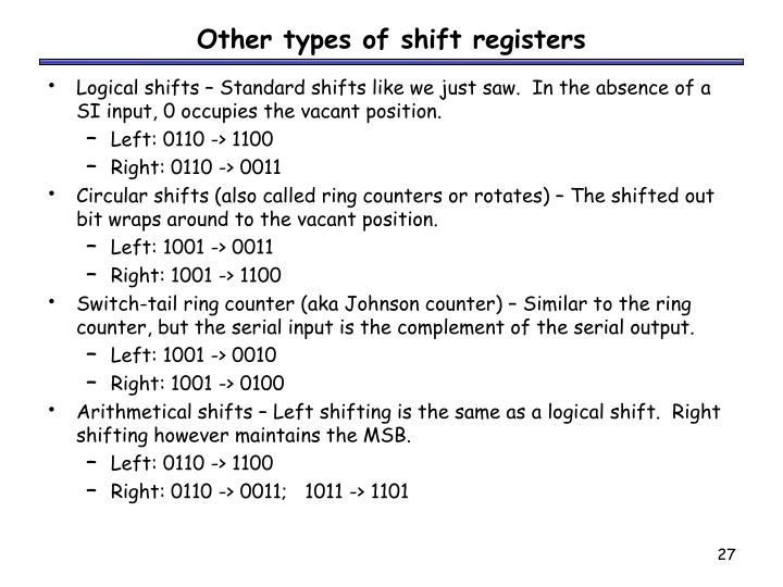 Other types of shift registers