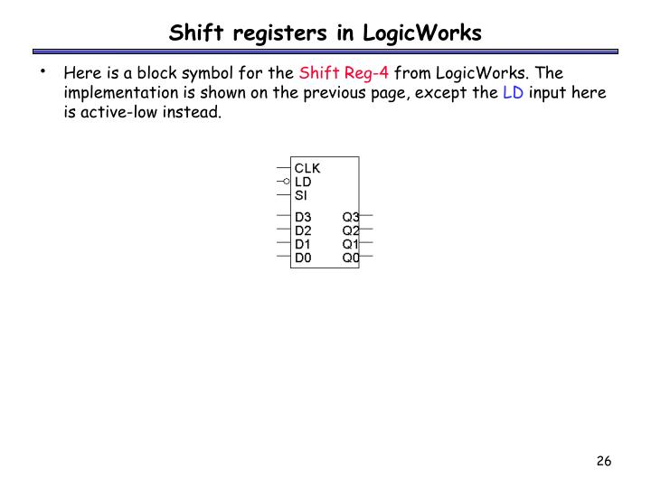 Shift registers in LogicWorks