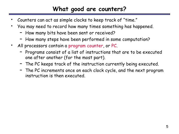 What good are counters?