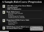 a sample ridercourse progression