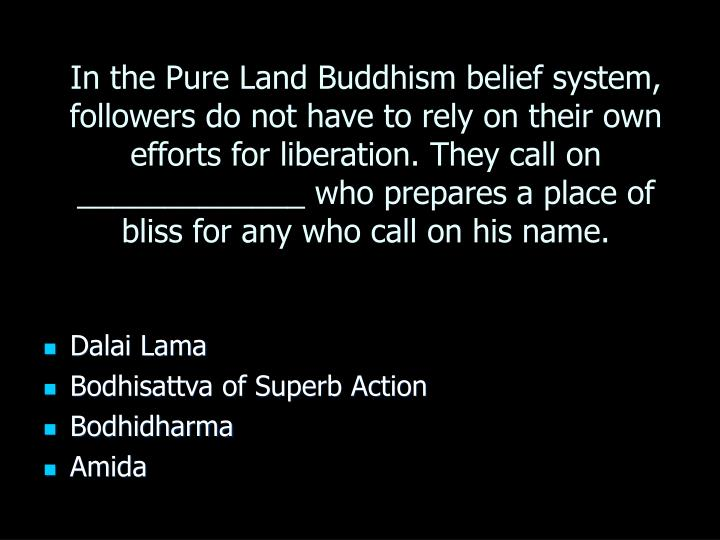 In the Pure Land Buddhism belief system, followers do not have to rely on their own efforts for liberation. They call on _____________ who prepares a place of bliss for any who call on his name.