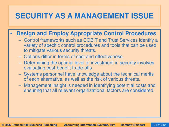SECURITY AS A MANAGEMENT ISSUE