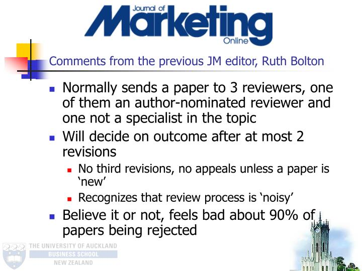 Comments from the previous JM editor, Ruth Bolton