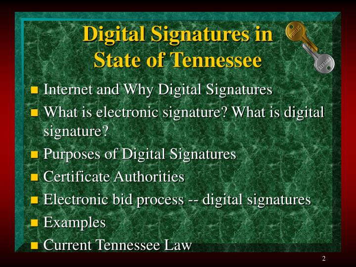 Digital signatures in state of tennessee1