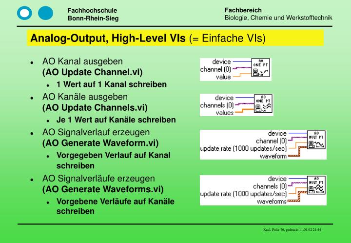 Analog-Output, High-Level VIs
