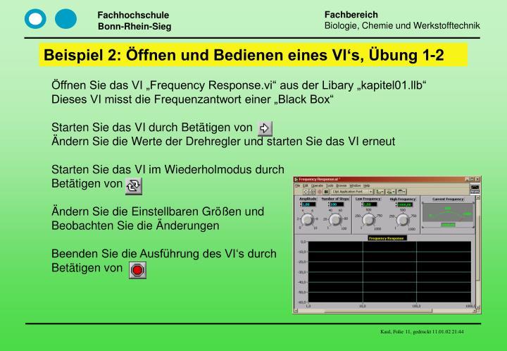 Beispiel 2: Öffnen und Bedienen eines VI's, Übung 1-2
