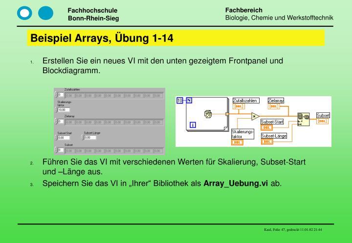 Beispiel Arrays, Übung 1-14