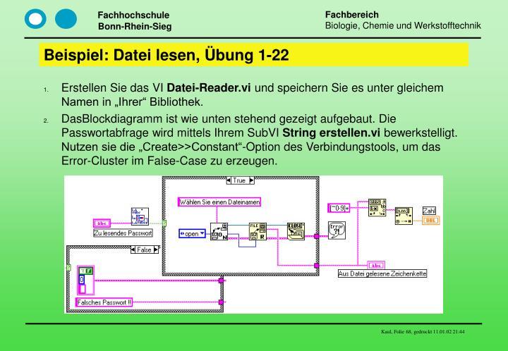 Beispiel: Datei lesen, Übung 1-22