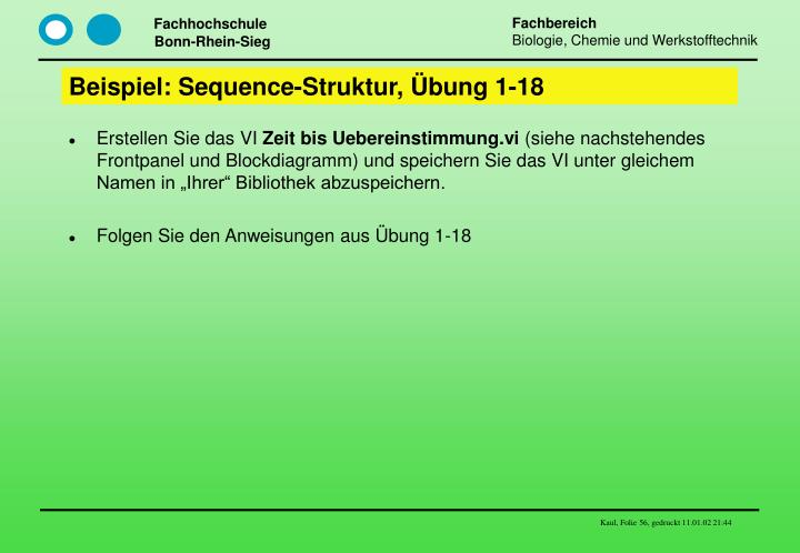 Beispiel: Sequence-Struktur, Übung 1-18