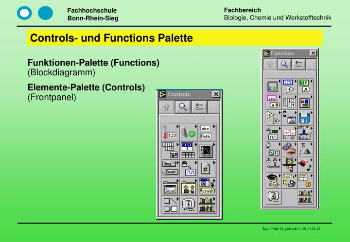 Controls- und Functions Palette