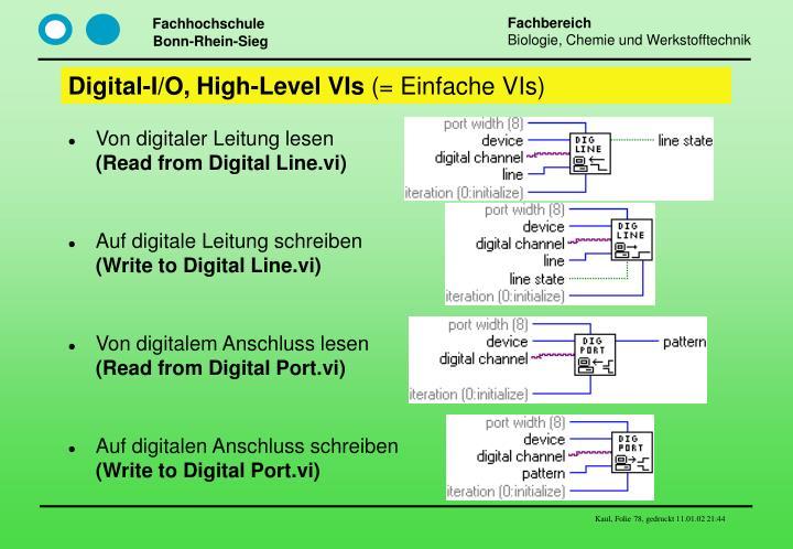 Digital-I/O, High-Level VIs