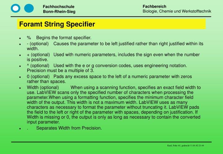Foramt String Specifier