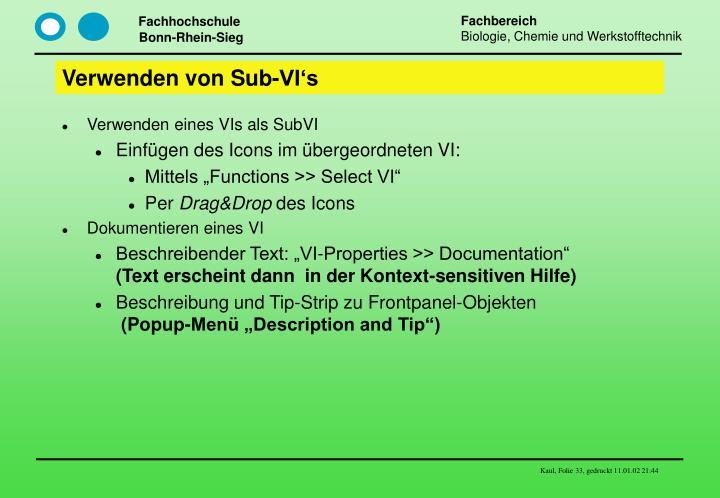 Verwenden von Sub-VI's