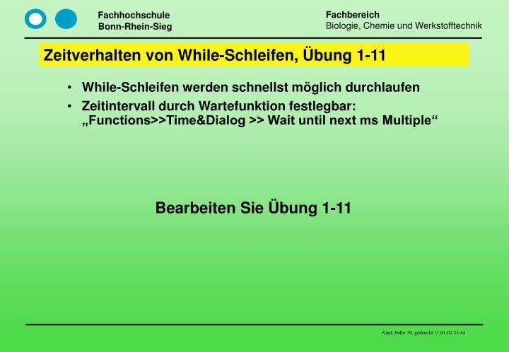 Zeitverhalten von While-Schleifen, Übung 1-11