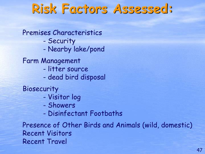 Risk Factors Assessed: