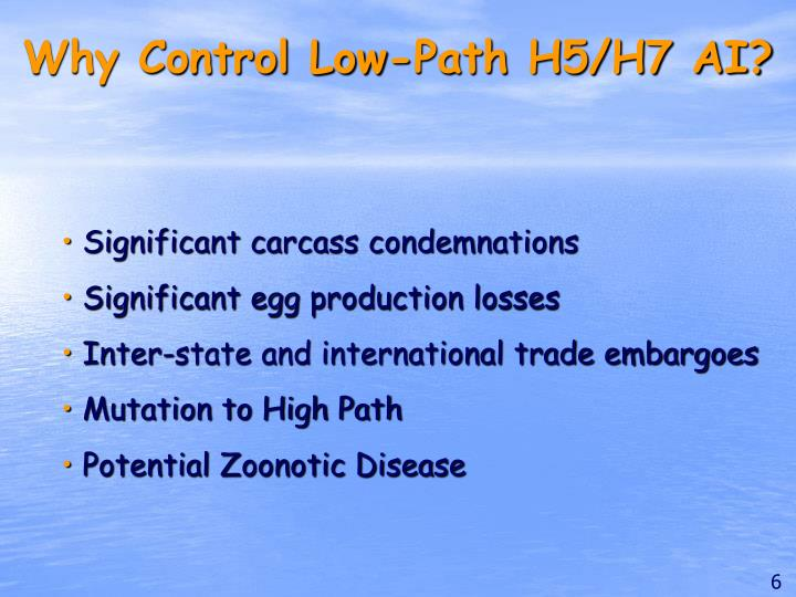 Why Control Low-Path H5/H7 AI?