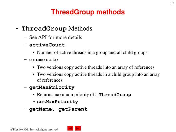 ThreadGroup methods