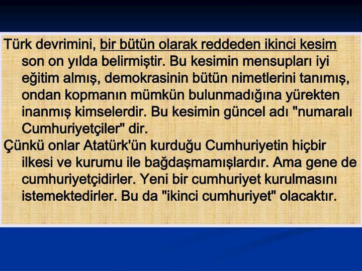Türk devrimini,