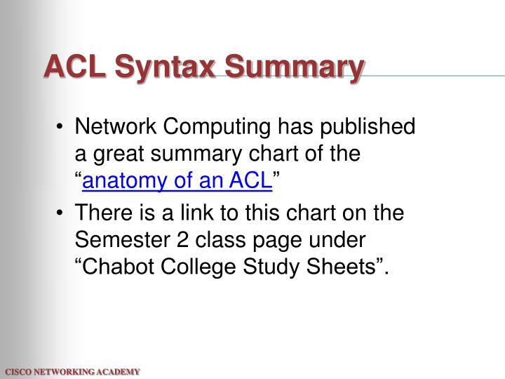 ACL Syntax Summary