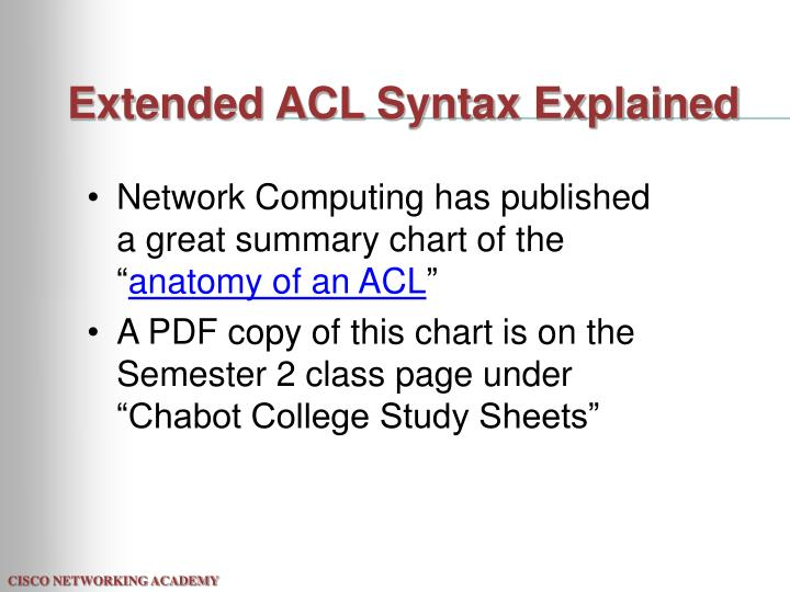 Extended ACL Syntax Explained