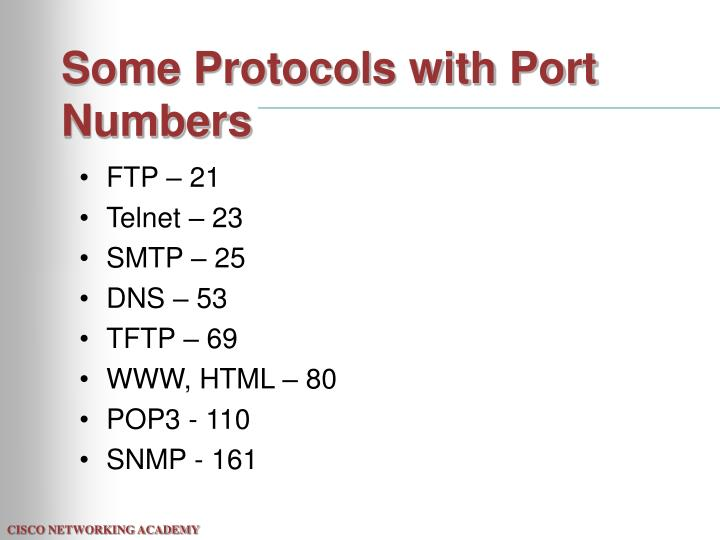 Some Protocols with Port Numbers