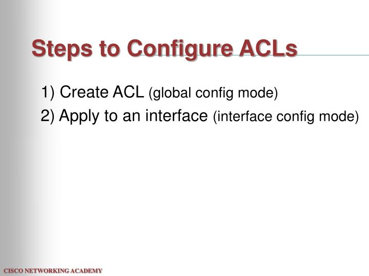 Steps to Configure ACLs