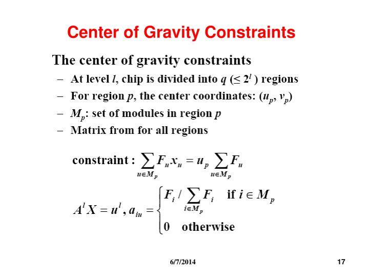 Center of Gravity Constraints