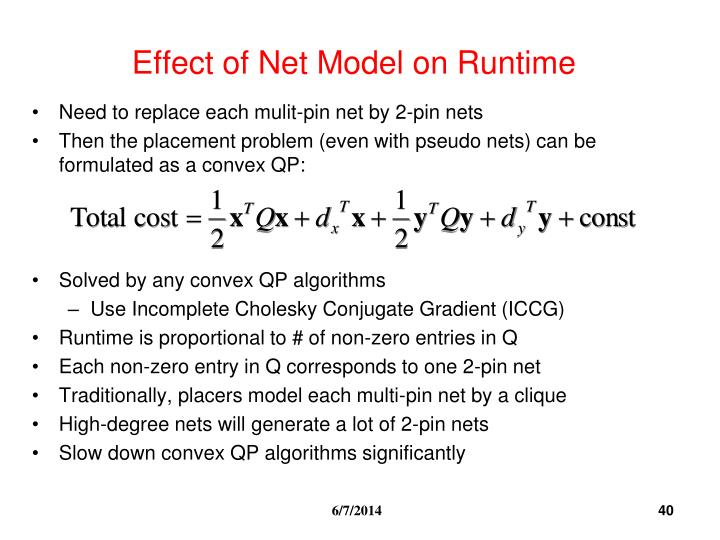 Effect of Net Model on Runtime