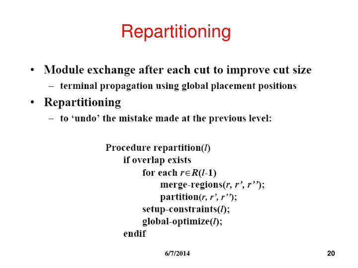 Repartitioning