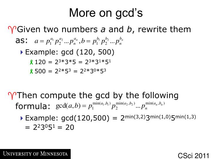 More on gcd's