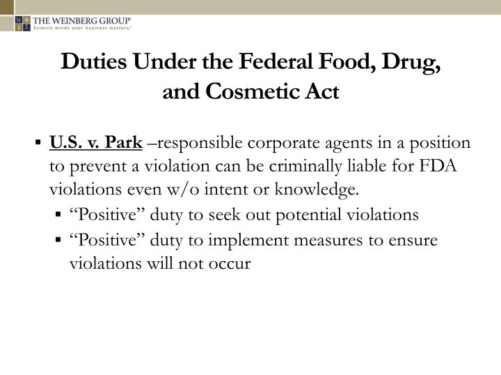 Duties Under the Federal Food, Drug,