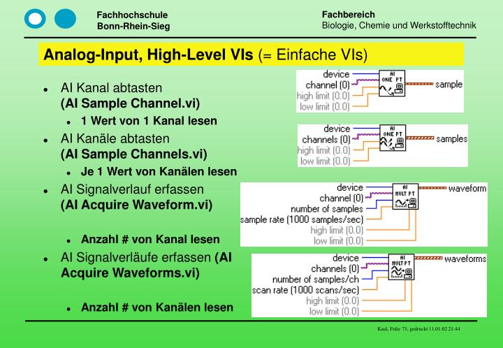 Analog-Input, High-Level VIs