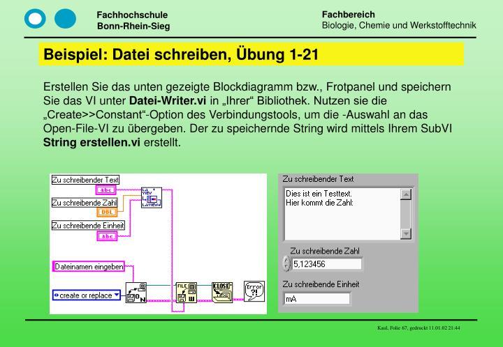 Beispiel: Datei schreiben, Übung 1-21