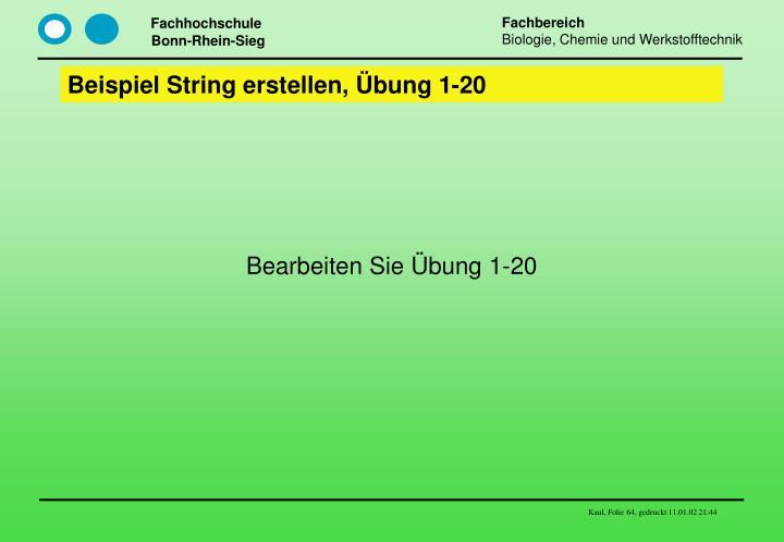 Beispiel String erstellen, Übung 1-20