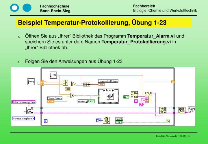 Beispiel Temperatur-Protokollierung, Übung 1-23