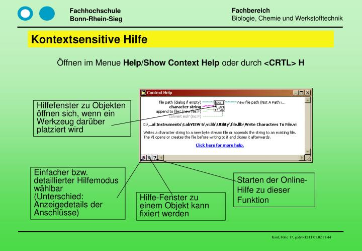 Kontextsensitive Hilfe