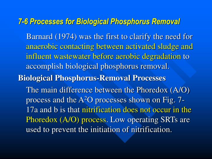 7-6 Processes for Biological Phosphorus Removal