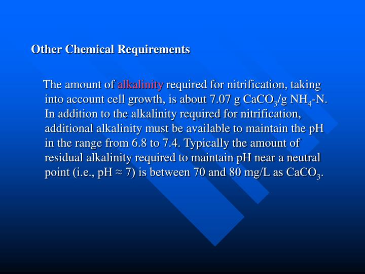Other Chemical Requirements