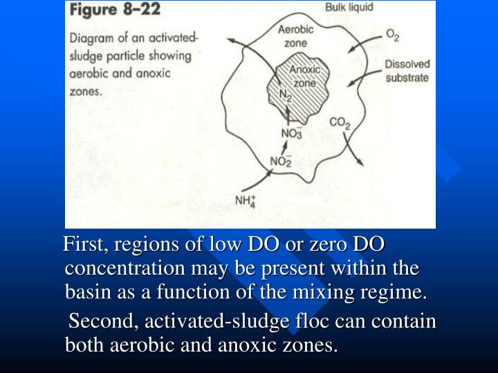 First, regions of low DO or zero DO concentration may be present within the basin as a function of the mixing regime.