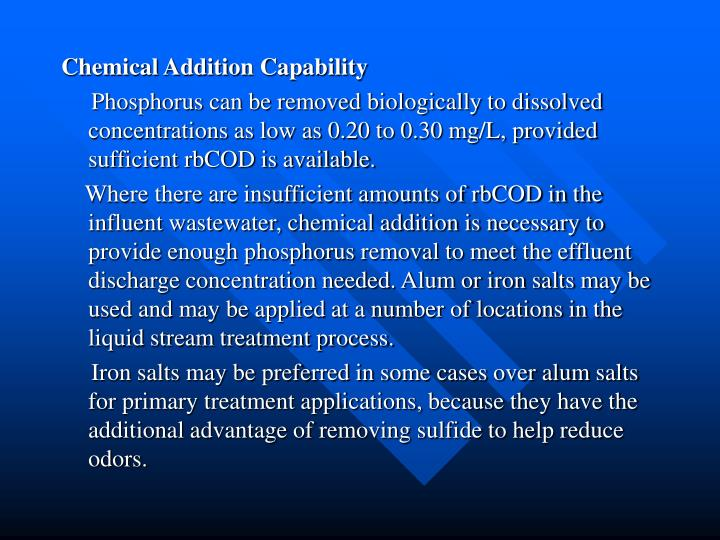 Chemical Addition Capability
