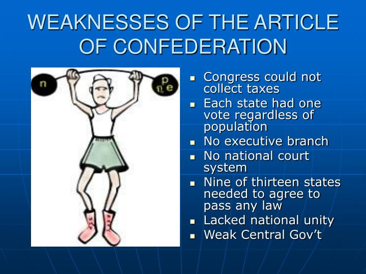 WEAKNESSES OF THE ARTICLE OF CONFEDERATION