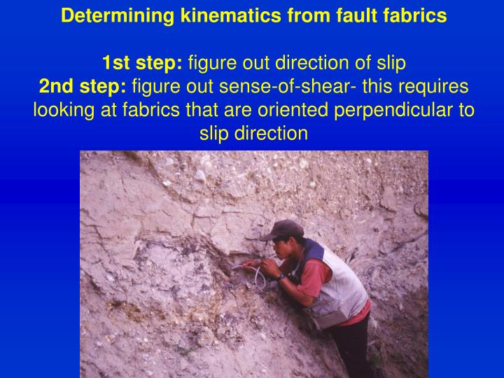 Determining kinematics from fault fabrics