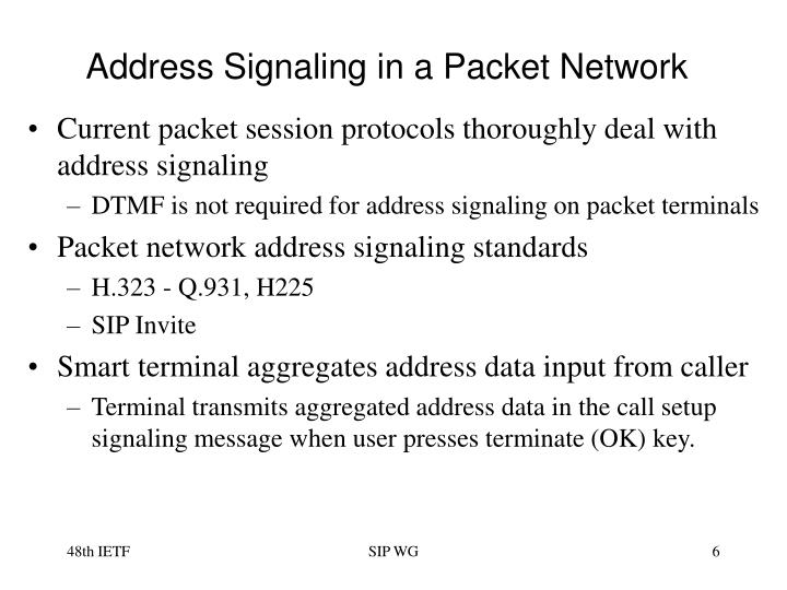Address Signaling in a Packet Network