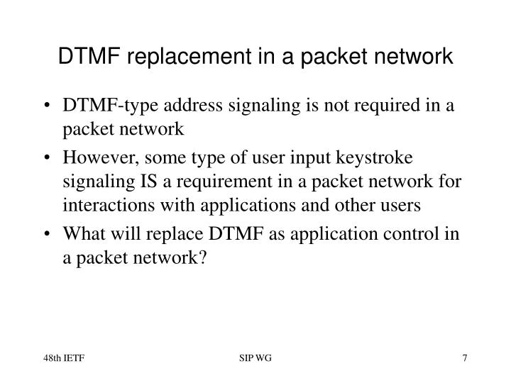 DTMF replacement in a packet network