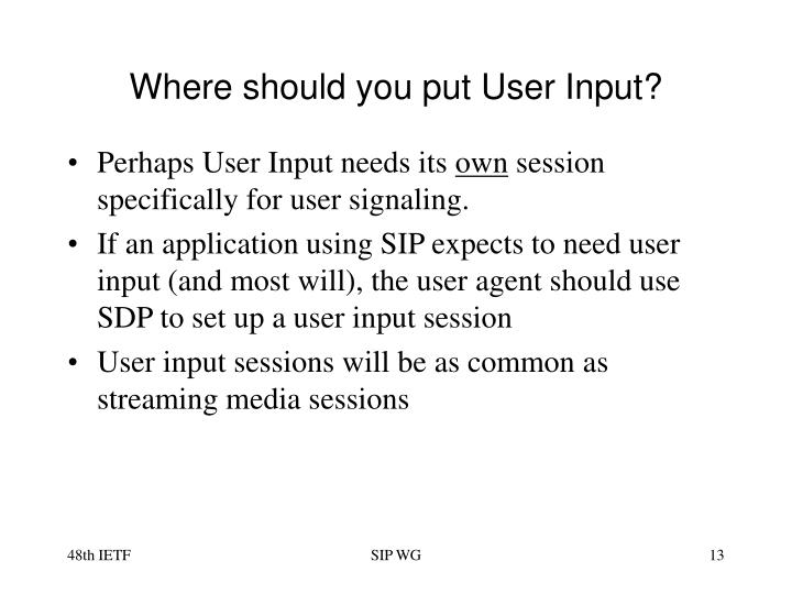 Where should you put User Input?