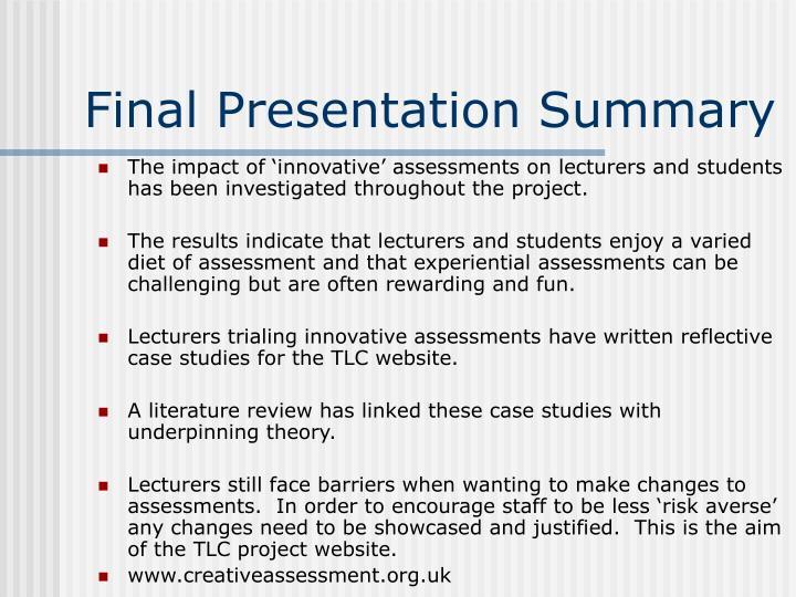 Final Presentation Summary